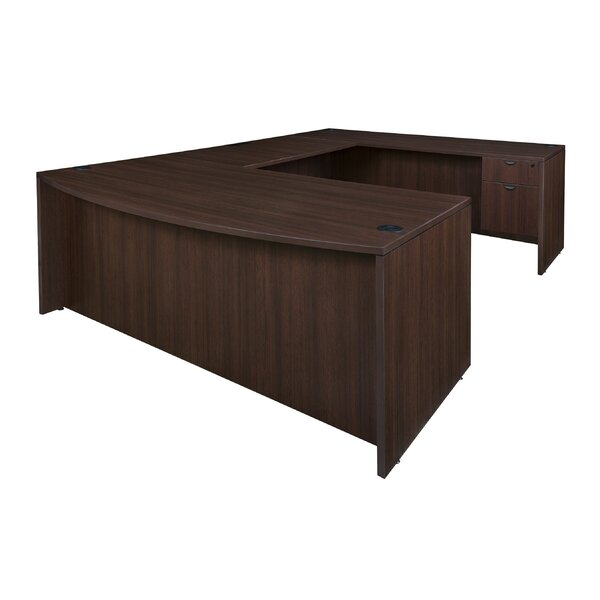 Linh Bow Front Double Pedestal U-Shape Executive Desk by Latitude Run