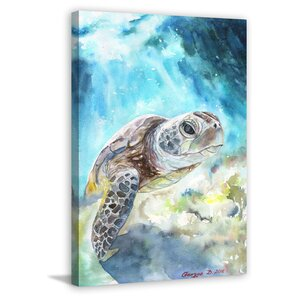 'Sea Turtle' by George Dyachenko Painting Print on Wrapped Canvas by Marmont Hill