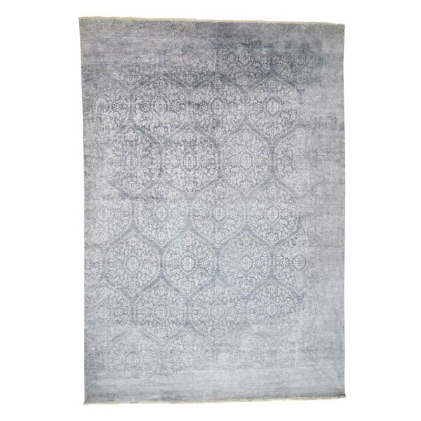 One-of-a-Kind Hansell Broken Ancient Mugal Art Closeout Hand-Knotted Silk Gray Area Rug by Bungalow Rose