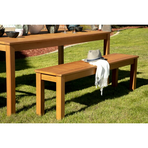 Kenna Outdoor Wooden Bench by Rosecliff Heights