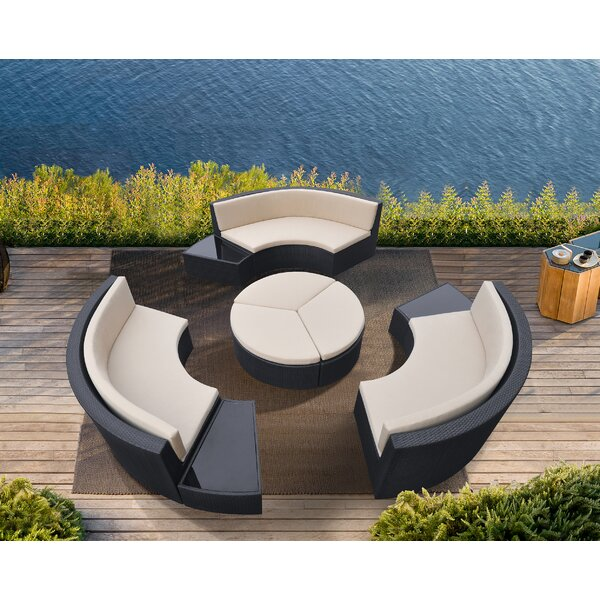 Wade 9 Piece Rattan Sectional Seating Group with Cushions Brayden Studio BSTU7335