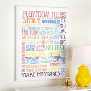 Genesis Rainbow Playroom Rules Smile Textured Canvas Art by Viv + Rae