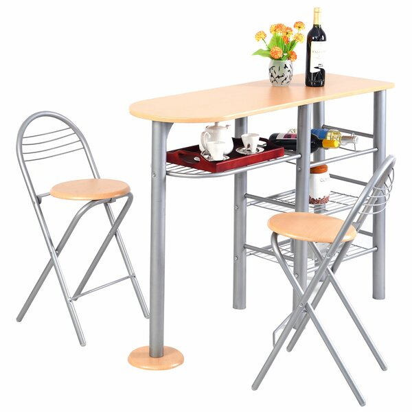 Minix Pub 3 Pieces Counter Height Dining Set by Latitude Run
