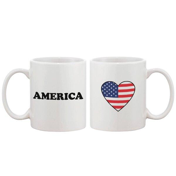 American Flag Heart Ceramic Coffee Mug by 365 Printing Inc