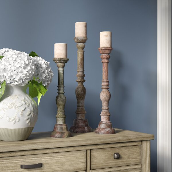3 Piece Wood Candlestick Set by Lark Manor