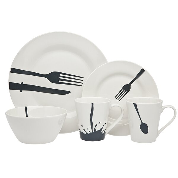 Acme 16 Piece Dinnerware Set, Service for 4 by Godinger Silver Art Co