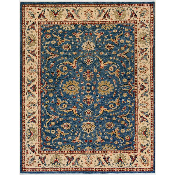 One-of-a-Kind Bodrum Royal Hand-Knotted Wool Blue/Ivory Area Rug by Canora Grey