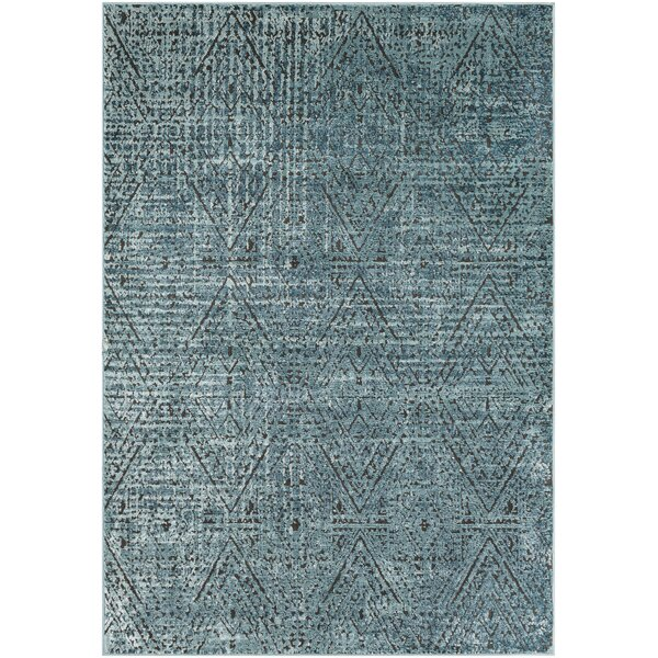 Quinlan Distressed Geometric Teal Area Rug by Bungalow Rose