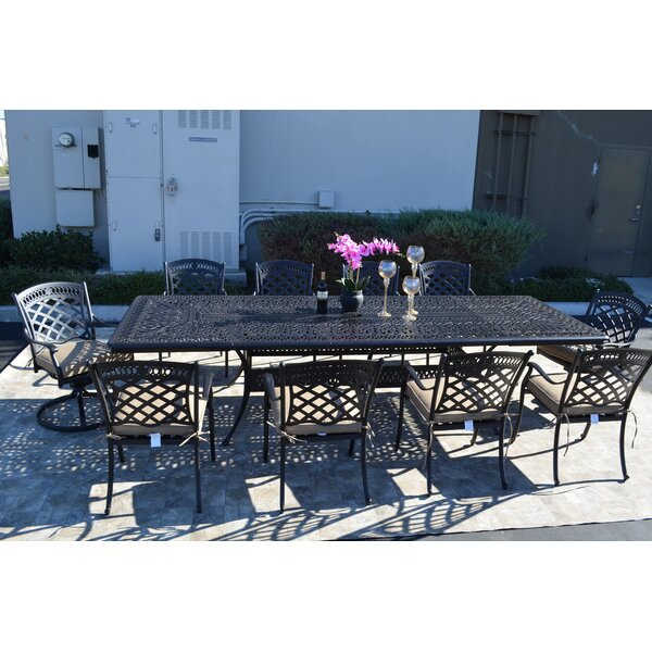 Wildermuth 11 Piece Dining Set with Cushions by Fleur De Lis Living