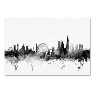 'London England Skyline' Graphic Art on Wrapped Canvas by Ivy Bronx