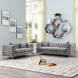 Strother 2 Piece Velvet Living Room Set (Set of 6) by Rosdorf Park