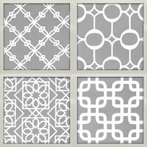 'Latticework Tiles' by Hope Smith 4 Piece Framed Graphic Art Print Set by Star Creations