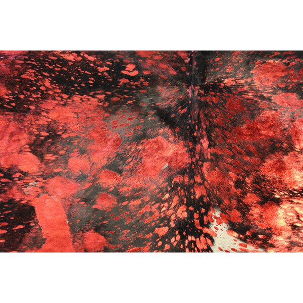 Winterbourne Down Handmade Cowhide Red Area Rug by Bloomsbury Market