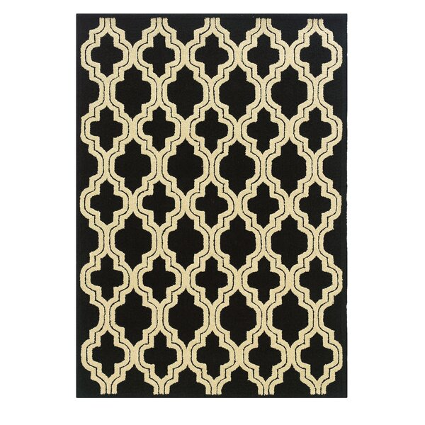 Savanah Hand-Tufted Black/Ivory Outdoor Area Rug by Winston Porter