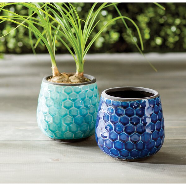 Aviston Honeycomb Ceramic Pot Planter (Set of 2) by Wildon Home ®