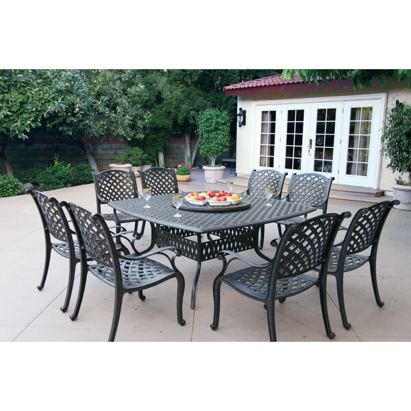 Lincolnville 9 Piece Dining Set with Cushions by Fleur De Lis Living