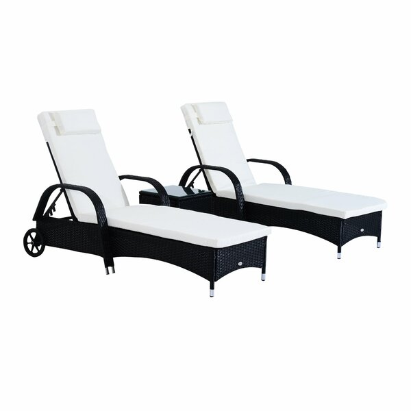 Kloss Reclining Chaise Lounge Set with Cushions and Table