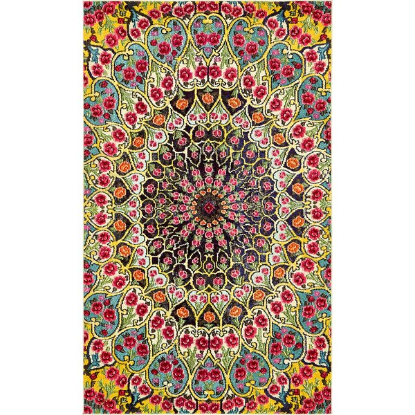 Newton Yellow Area Rug by World Menagerie