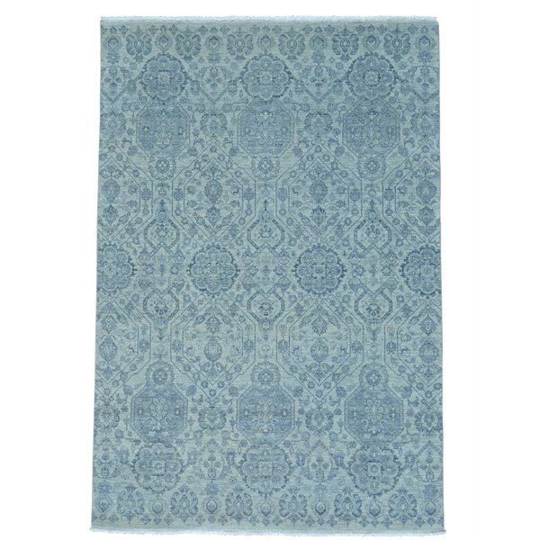 Hand-Knotted Blue Area Rug by Bloomsbury Market