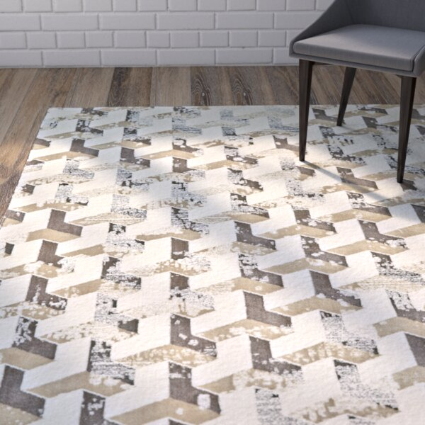 Medford Cream/Brown Area Rug by Wrought Studio