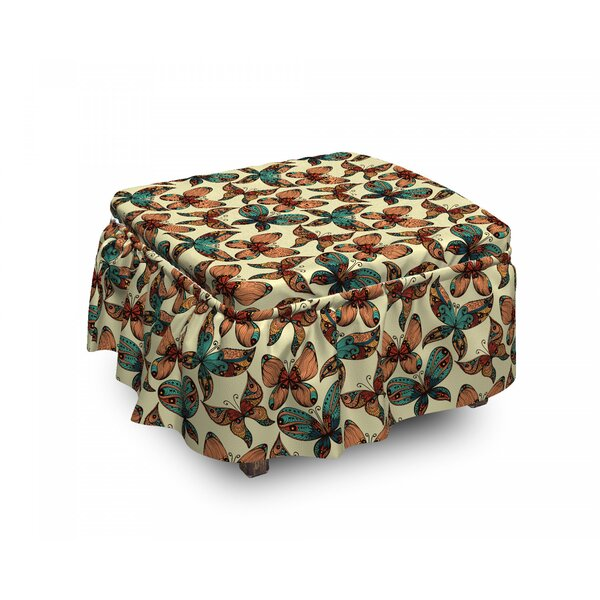 Abstract Art Wings Ottoman Slipcover (Set Of 2) By East Urban Home
