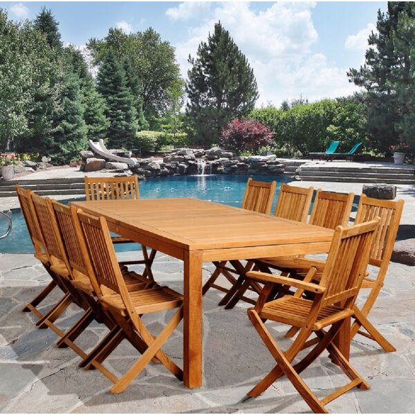 Meeks 11 Piece Teak Dining Set by Longshore Tides