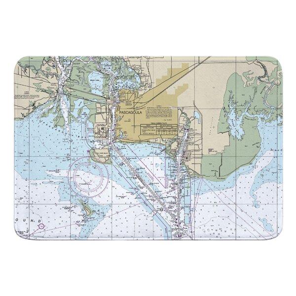 Nautical Chart Pascagoula MS Rectangle Memory Foam Non-Slip Bath Rug