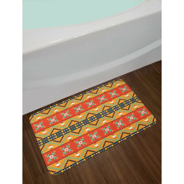 Abstract Tribal Pattern Bath Rug by East Urban Home