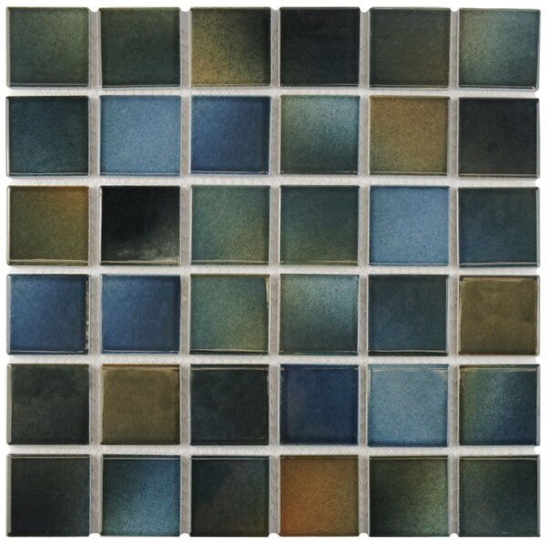 Arthur 2 x 2 Porcelain Mosaic Tile in Blue/Brown by EliteTile