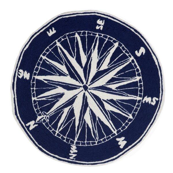 Shelborne Compass Hand-Tufted Indoor/Outdoor Navy Area Rug by Breakwater Bay