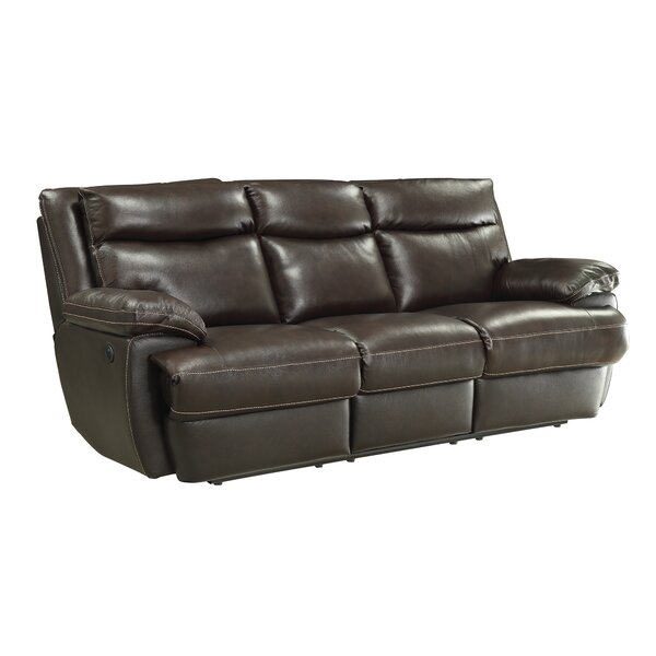 Hughes Leather Reclining Sofa by Red Barrel Studio