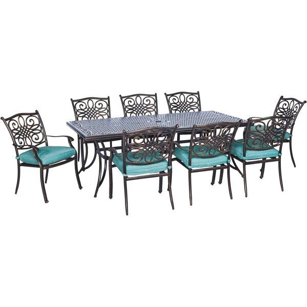 Pleasanton 9 Piece Rectangular Dining Set with Cushions by Fleur De Lis Living