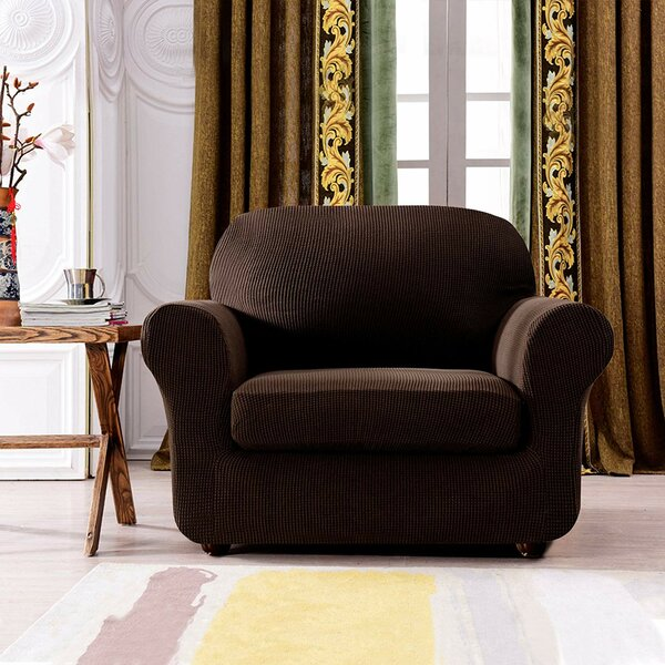 Plaid Stretch Box Cushion Chair Slipcover by Winston Porter