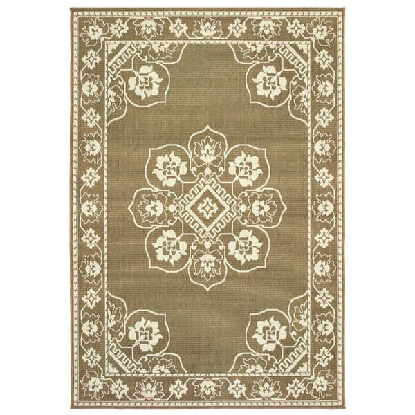 Salerno Floral Medallion Tan/Ivory Indoor/Outdoor Area Rug by Charlton Home