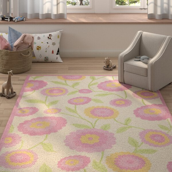 Claro Ivory & Pink Area Rug by Harriet Bee