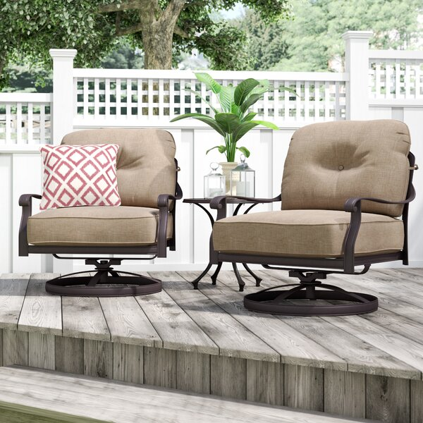 Lebanon Club Patio Chair with Cushion (Set of 2) by Three Posts