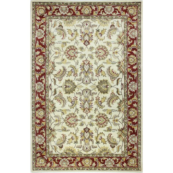 Abbi Ivory/Red Area Rug by Bashian Rugs