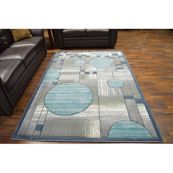 Mccampbell 3D Gray/Blue Area Rug by Ivy Bronx