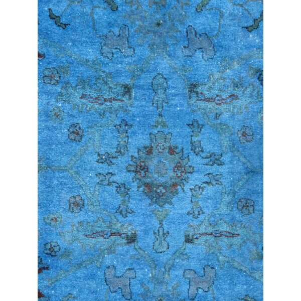 Overdye Hand-Knotted Wool Blue Area Rug by Pasargad