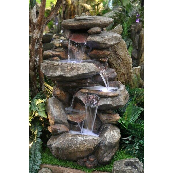 Fiberglass Rock Fountain with Light by Alpine