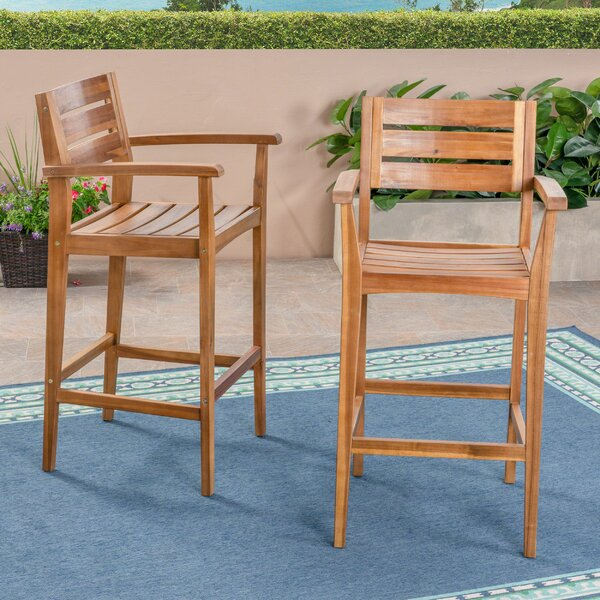 Vanetten 45.5 Teak Patio Bar Stool (Set of 2) by Union Rustic