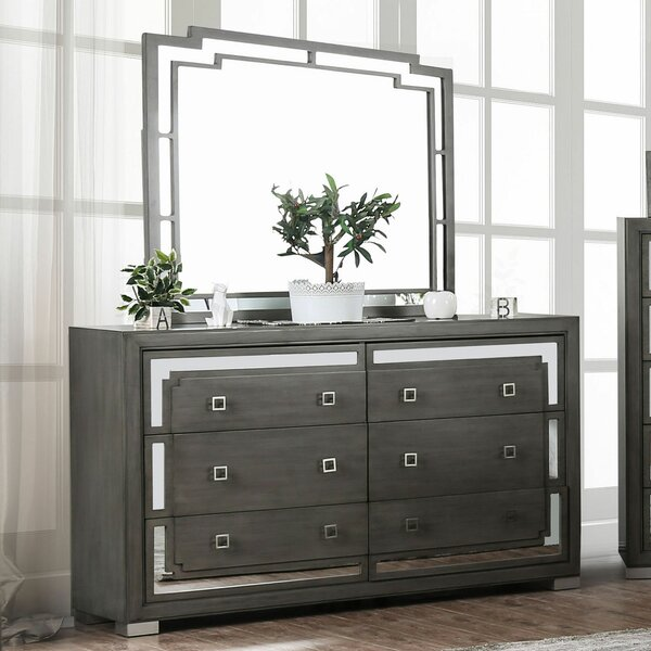 Angelita 6 Drawer Double Dresser With Mirror By Everly Quinn by Everly Quinn 2020 Sale