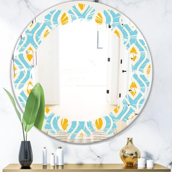 Leaves Pattern Abstract Design I Coastal Frameless Wall Mirror
