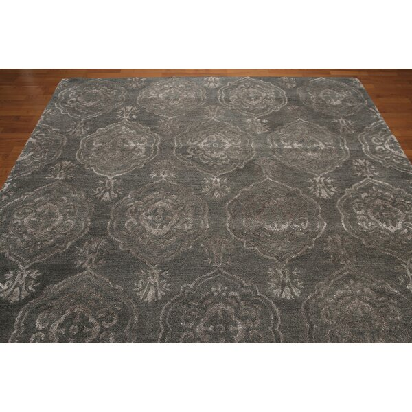 One-of-a-Kind Hackney Hand-Knotted Tone on Tone Greenish Gray Area Rug by Canora Grey