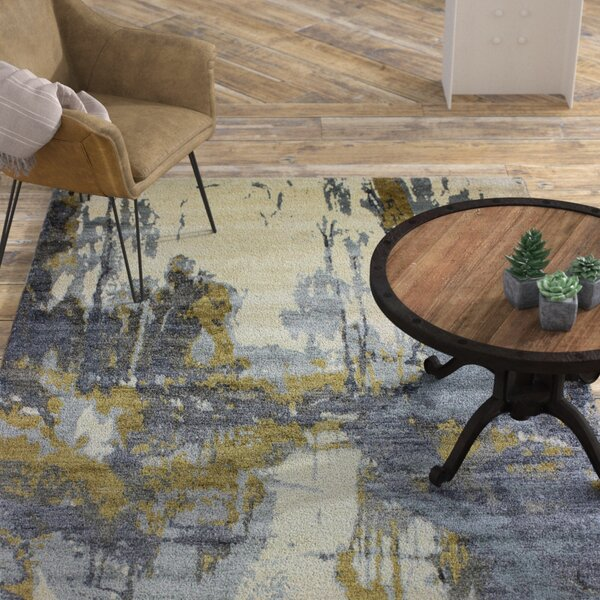 Bentson Hand-Knotted Ivory/Blue Area Rug by 17 Stories