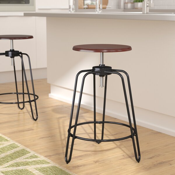 Galloway Adjustable Height Swivel Bar Stool by Wrought Studio