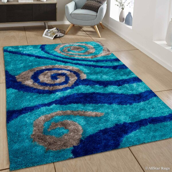 Hand-Tufted Blue/Gray Area Rug by AllStar Rugs