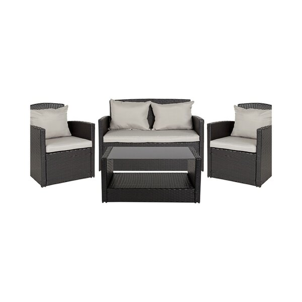 Kegley 4 Piece Rattan Sectional Seating Group by Charlton Home