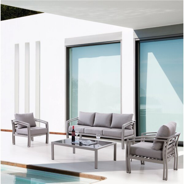 Ferebee Outdoor 4 Piece Sofa Set with Cushions by Latitude Run