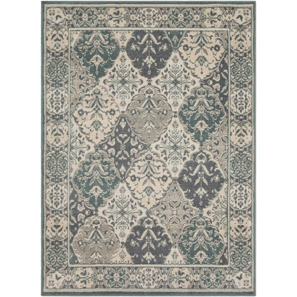 Maidenhead Teal/Charcoal Area Rug by Charlton Home